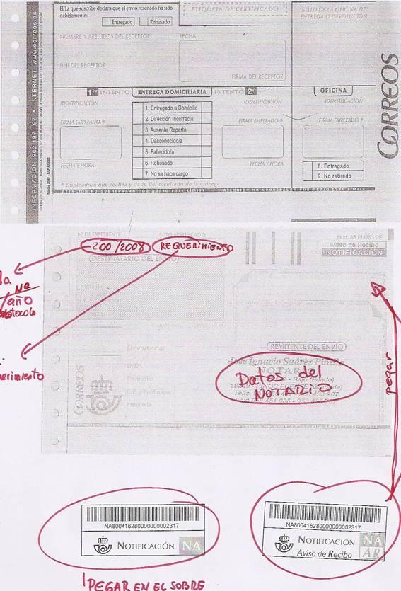 Actas De Notificación Y Requerimiento Notarial Por Correo