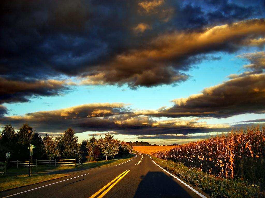 Carretera con luz de atardecer, New Smithville, Lehigh County. Por Nicholas A. Tonelli