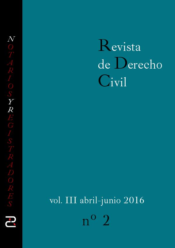 Revista de Derecho Civil Año 2016. Volumen III, número 2 (número 10 en total).