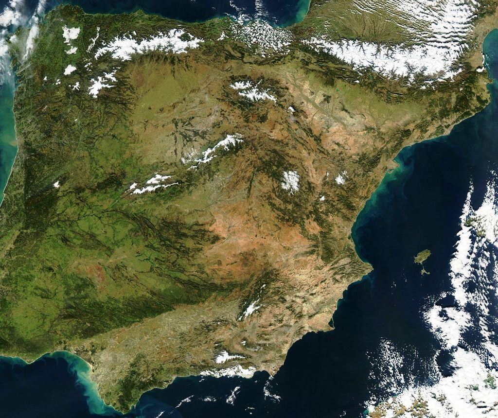 Mapa de España desde satélite en enero de 2013. Por Jacques Descloitres, MODIS Rapid Response Team, NASA/GSFC