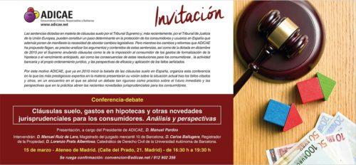 Conferencia-debate: Cláusulas suelo, gastos en hipotecas y otras novedades para los consumidores