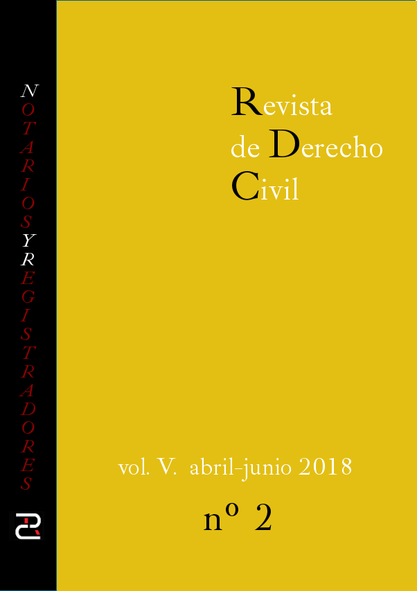 Revista de Derecho civil. Volumen V. Número 2. Abril-junio 2018.